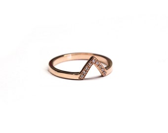 Triangle rose gold pave ring