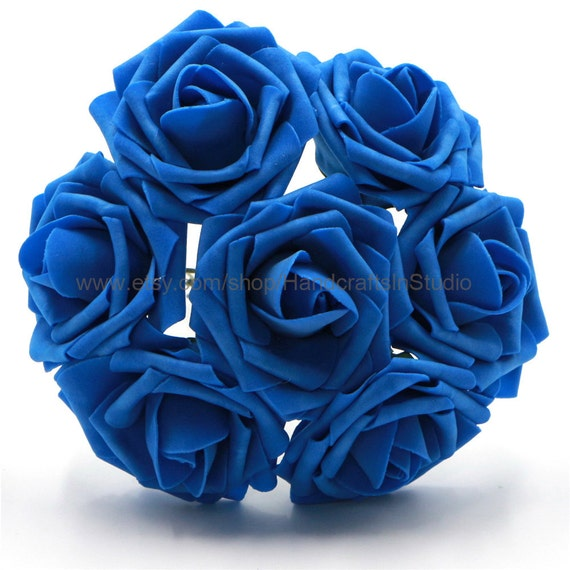 Royal Blue Roses Artificial Flowers Dark Wedding