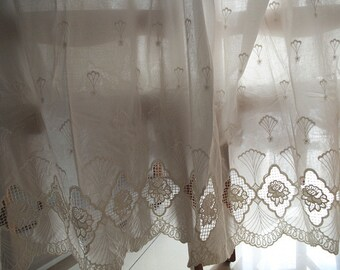 off white natural cotton lace fabric with hollowed floral pattern