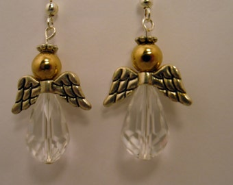 Gold Angel Earrings, Gold Angel & Crystal Earrings, Angel Earrings, Crystal Earrings, Crystal Angel Earrings