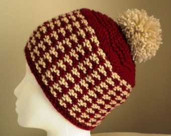Knit HAT PATTERN - Danica Houndstooth