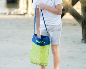 Mesh Beach Bag for Gathering Seashells. Great Gift.   FREE Monogram! It comes in pink, woods or green.