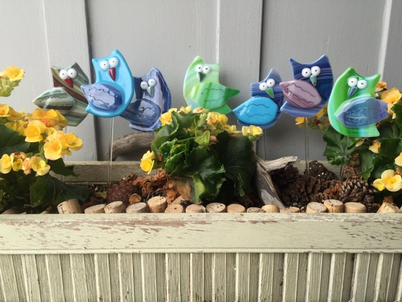 Fused Glass Owl Plant Stakes