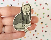 Halloween Cat Brooch Wednesday Addams Cat Pin -  cat pin - cat jewellery -Halloween Pin - Unique Boutonnière