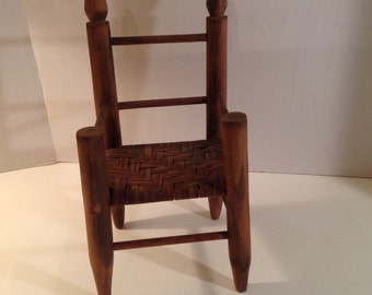 Antique Handmade Wooden Doll / Teddy Bear Chair with Woven Split Seat