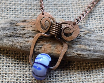 Handcrafted glass and copper necklace by FRS