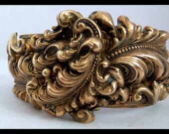 Vintage Bracelet Hinged  Floral Brass Cuff