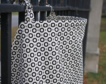 Cream, Black, Grey Circle Print Nursing/Breastfeeding Cover. 100% Cotton
