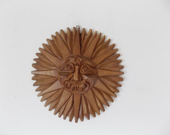 Vintage Carved Sun Face Round Wooden Wall Hanging