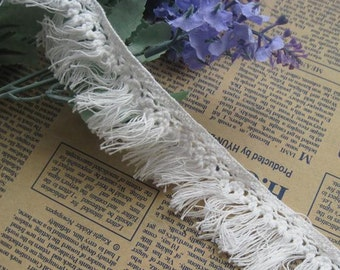 White Fringe Trim Cotton 2yds x 3cm wide