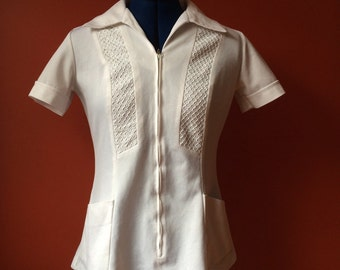 Vintage 1970s Tunic Top Sci Fi Uniform Cosplay Naughty Nurse Halloween Costume