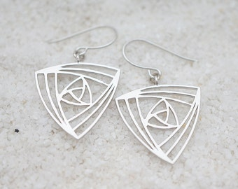 Trinity Chandelier, Triangle Filigree, Bohemian Chic Earrings, Only one available Minimalist Hippie Gift for her, Earrings