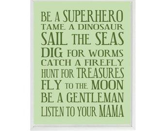 Boy Rules Art Print, Baby Boy Nursery, Green Nursery, Be A Superhero Print, Boy Room Art, Playroom Wall Art, Boy Art, Typography, Word Art