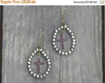 ON SALE Pyrite Beads with Red Crystal Cross Gothic Dangle Earrings