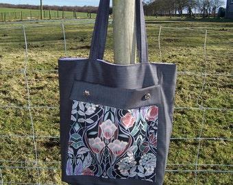 Smart pinstripe office shoulder bag, with Art Nouveau trim