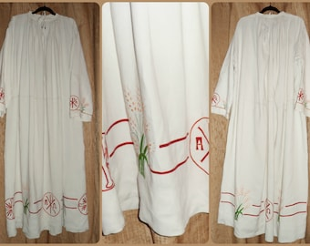 Antique Priest Clergy Alb Christian Religious robe vestment hand made linen embroidered