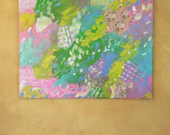 Mixed Media Wall Art Pink Blue Yellow Green Purple Paper Decoupage Acrylic Canvas Painting with Swarovski Crystals Irridescent Glitter