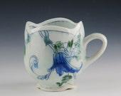 Toile pattern porcelain mug