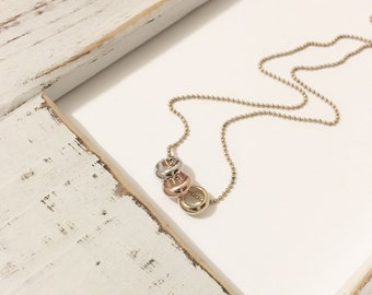 Mixed metals necklace, layering necklace, eternity ring necklace, dainty necklace, circle necklace, minimalist necklace, 3 ring necklace