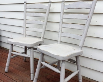 pair of rustic white wooden chairs. buy online & collect locally in Melbourne (pick up only)