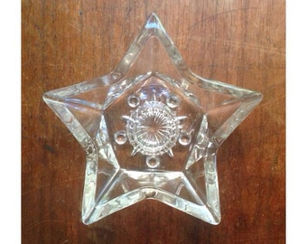 Vintage Star Candlestick Holder -Glass-