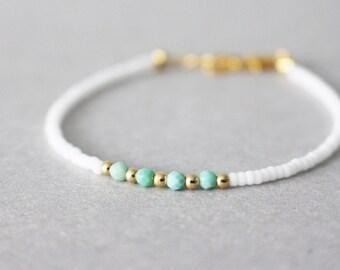 mint gem beaded bracelet - white beaded bracelet - gold beaded bracelet
