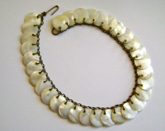 vintage mother of pearl disc necklace