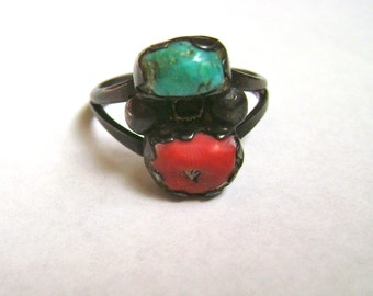 vintage turquoise and coral, a ring, size 6.25