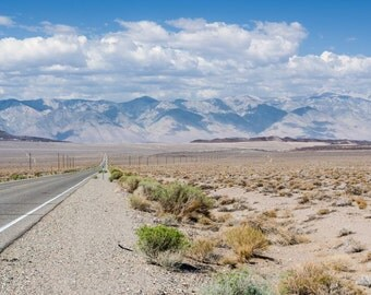 Randomings, mountain range, desert, old highway, road, cactus, mountains, big blue sky, grass, zen, fine art photograph picture office print