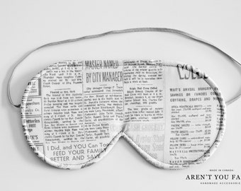 Eye Mask, Sleep Mask, Travel Mask, Handmade News Print, Vintage Inspired Pattern Mask by Aren't You Fancy!