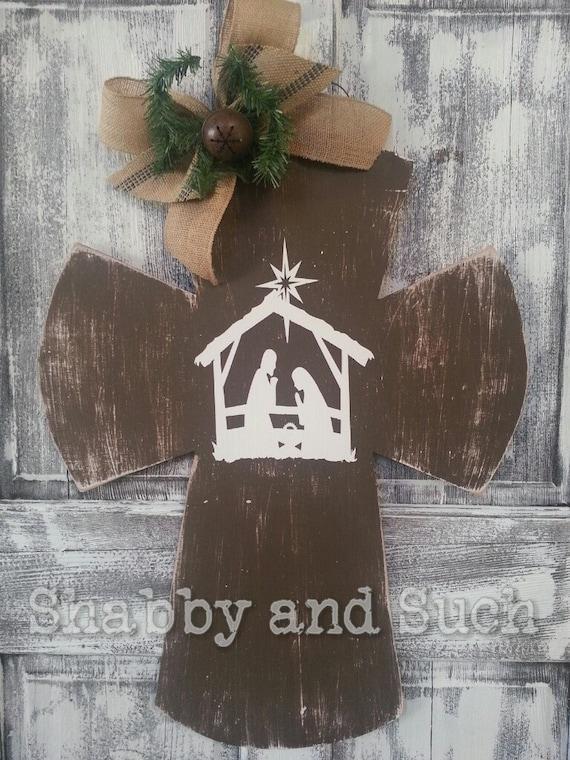 Items Similar To Cross Christmas Nativity Scene
