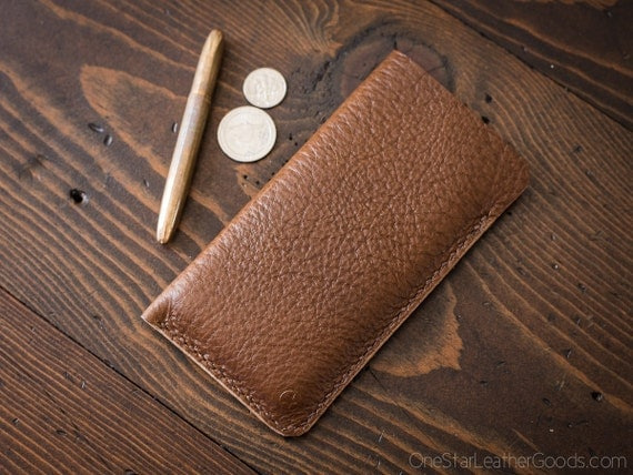 "iPhone 7 & 6 (4.7"") Horween leather sleeve case - textured tan"