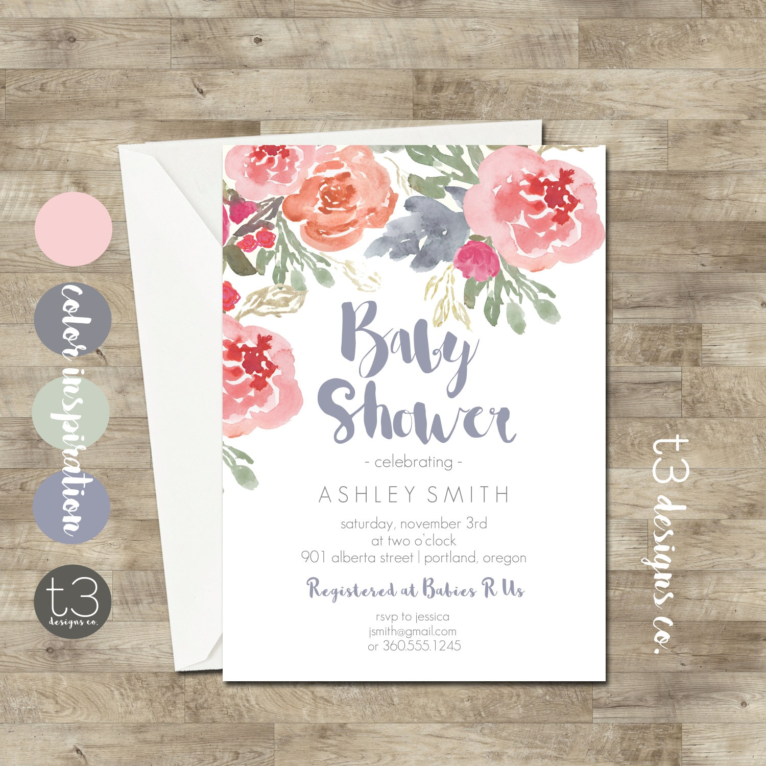 Gender Neutral Floral Baby Shower Invitation Fall Baby Shower