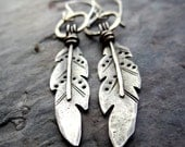Rustic Feather Earrings // hand forged sterling silver bird feathers // southwest native american inspired metalsmith jewelry (3810/12)