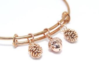 Gift for Her, Fall Bracelet, Autumn Bangle, Rose Gold Bangle, Thanksgiving Gift, Sister Gift, Friend Gift, Acorn Bangle, Pine Cone Bangle