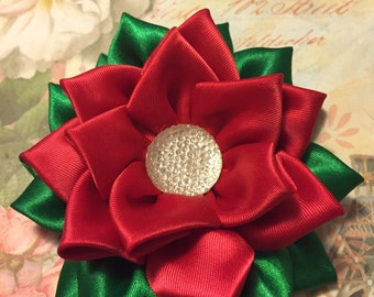 Red and Green Kanzashi Flower Hair Clip Hair Bow  Christmas Flower Bow