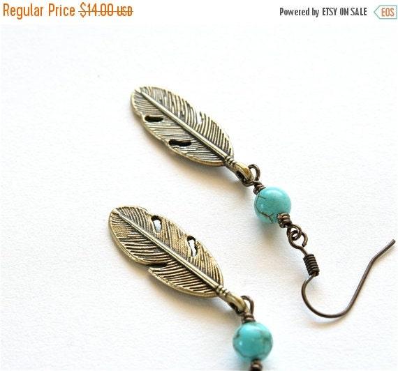 SALE 20% OFF SALE Boho Feather Earrings, Turquoise Earrings, Feather Jewelry, Southwestern Santa Fe Jewelry
