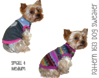 Dog Sweater Pattern 1613 * Small & Medium * Dog Clothes Sewing Pattern * Dog Shirt Pattern * Dog Apparel * Designer Dog Clothing