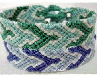Friendship Bracelet, Macrame, Woven Bracelet, Wristband, Knotted Bracelet - Blue or Green Bracelet