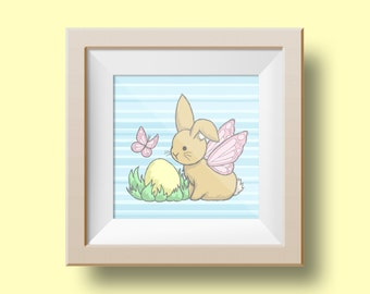 The Easter Flutterby Bunny - 5 x 5 / 10 x 8 Art Print