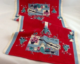Vintage Linen Tea Towel Red Blue Guitar