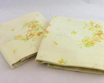 Vintage Yellow Flowered Pillowcases, Summer Pillowcases, Cottage Pillowcases