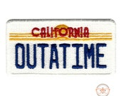 "Back to the Future ""OUTATIME"" License Plate Inspired - Iron-on Patch"