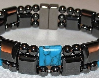 "7 stones to choose from Mens ""Triple Threat"" Magnetic Hematite Bracelet"