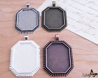 24- 22x30mm Octagonal Bezel Setting Pendant Trays - Choose from 4 Colors - DIY Jewelry Making - Vintage Findings - Vintage Settings