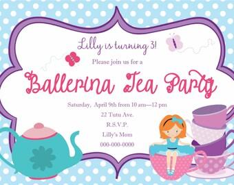 Ballerina Tea Party Birthday Invitation - Print Your Own - Digital File
