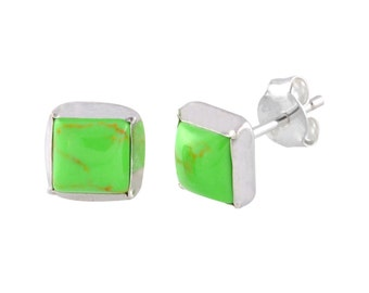 Green Gaspeite Stud Earrings 7mm Square Sterling Silver