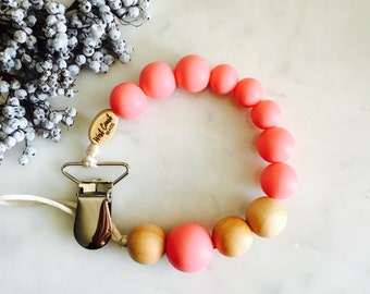 Silicone Teething Pacifier Clip, Bite Beads Universal Soother Clip, Teether Chew Toy Beads, Monochromatic, Natural Wood - Dark Pink
