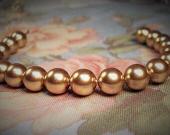 12 Bronze 8mm Swarovski Crystal Pearls