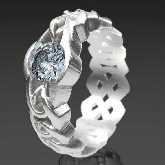 Celtic Cut-Through Quaternary Knot Design in Sterling Silver with Moissanite Stone, Made in Your Size CR-1066c